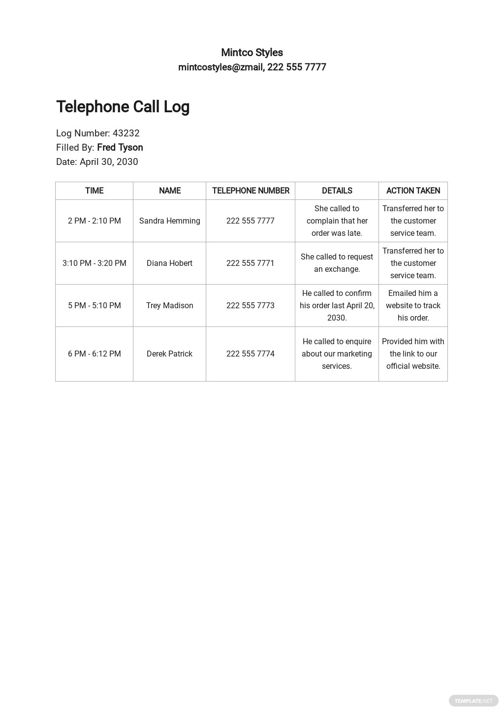 Telephone Call Log Template