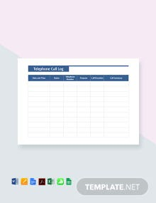Free Telephone Call Log Template