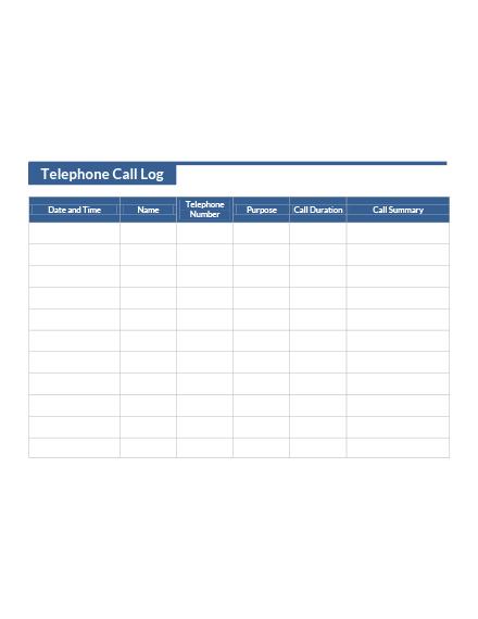 Telephone Call Log Template