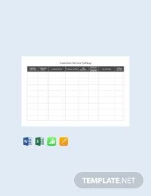 Free Customer Service Call Log Template
