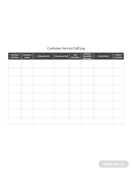 Customer Service Call Log Template