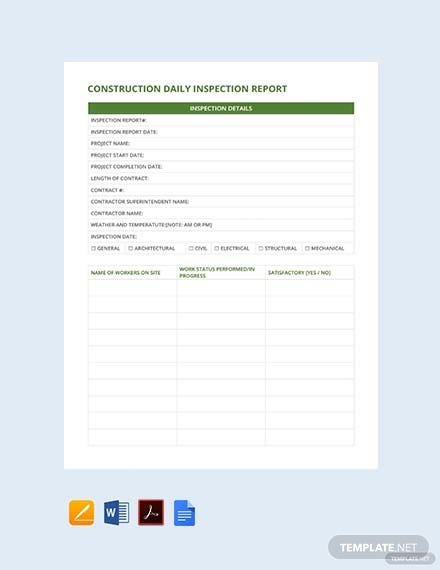 Construction inspection report template and construction daily.
