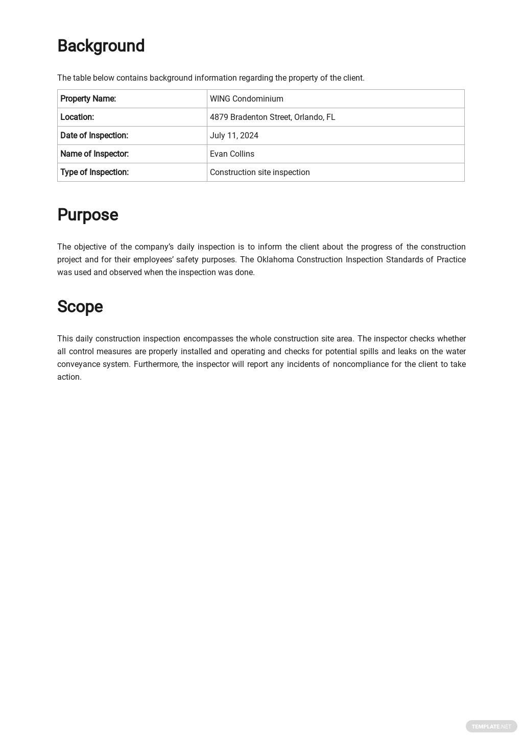 Construction Daily Inspection Report Template [Free PDF] - Google Docs, Word