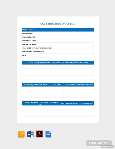 Construction Daily Log Template