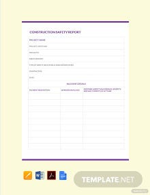 Free Construction Safety Report Template