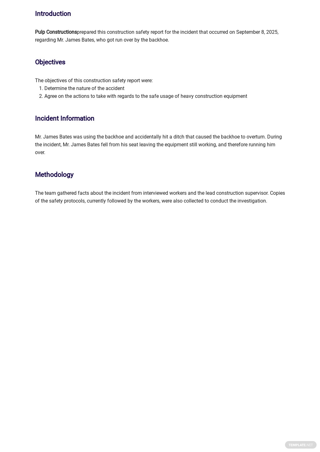 Free Construction Safety Report Template 1.jpe