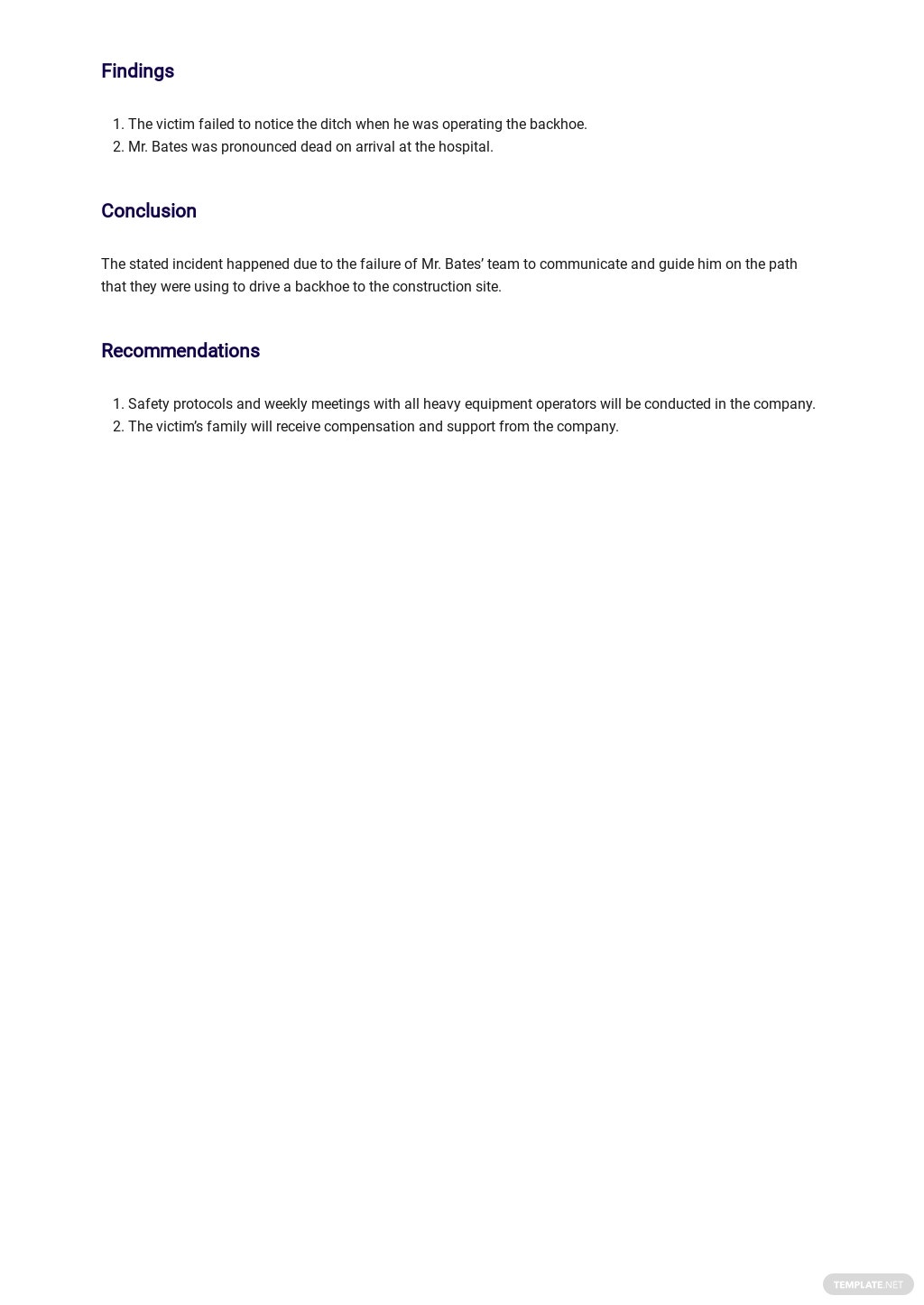 Free Construction Safety Report Template 2.jpe