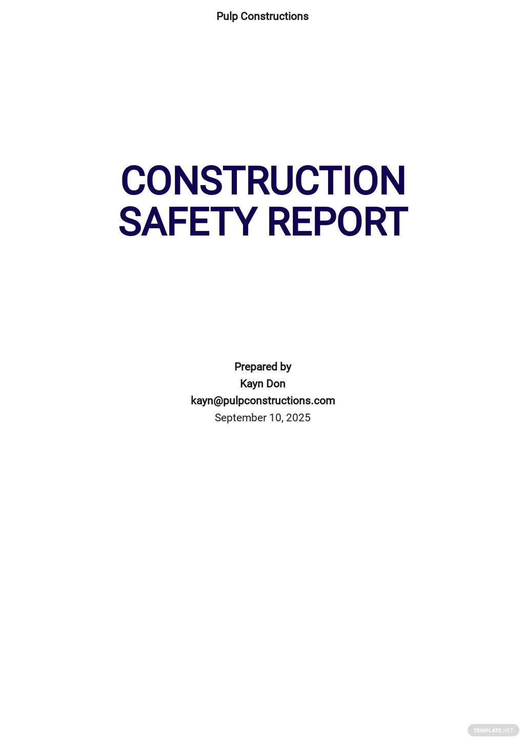 Construction Safety Report Template