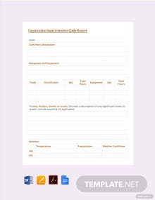 Free Construction Superintendent Daily Report Template