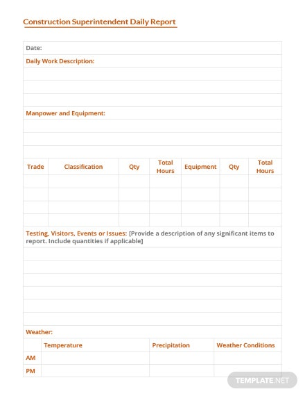 Construction Superintendent Daily Report Template