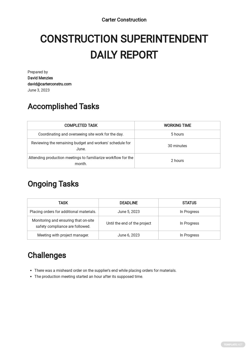 Construction Superintendent Daily Report Template [Free PDF] - Google Docs, Word