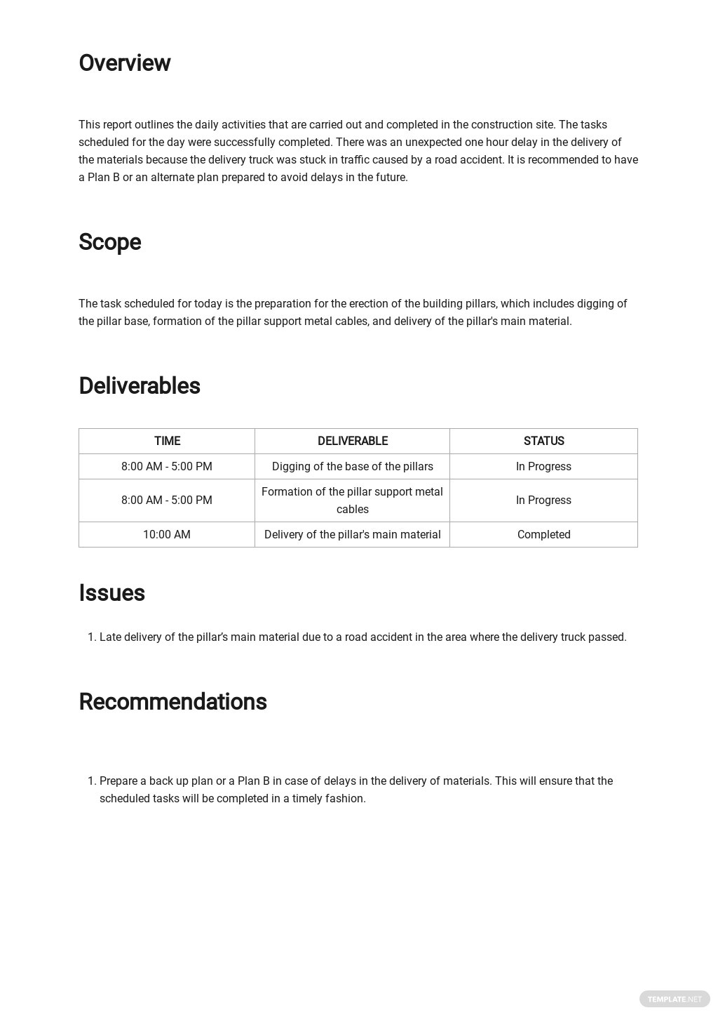 Free Daily Construction Work Report Template 1.jpe