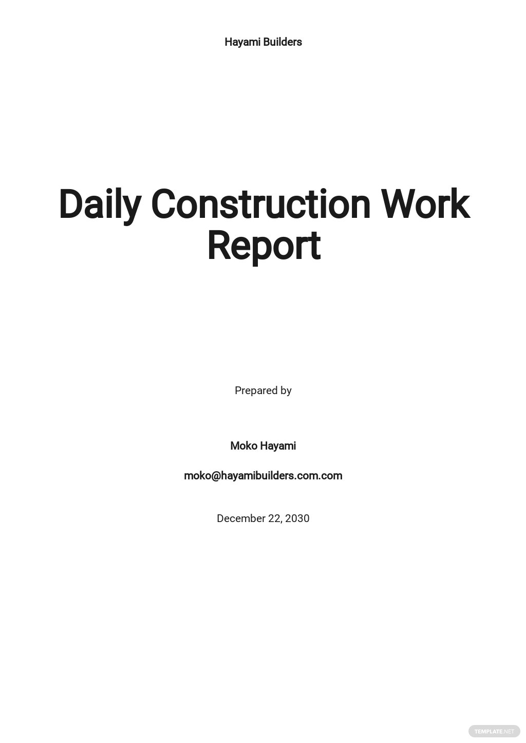 Daily Construction Work Report Template