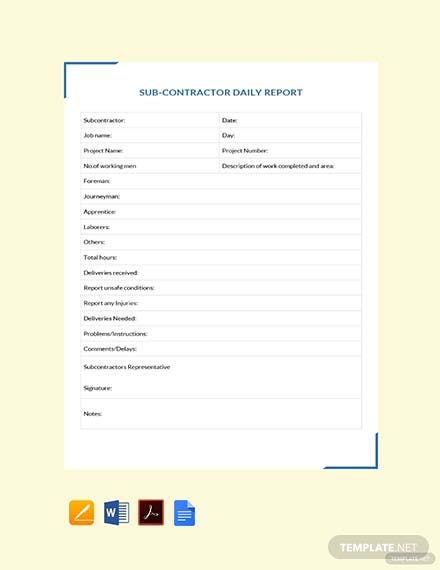 Free Subcontractor Daily Report Template