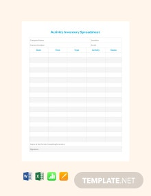 Free Activity Inventory Spreadsheet Template