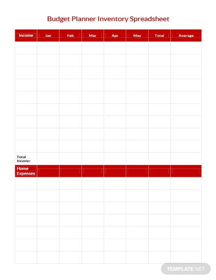 Free Budget Planner Inventory Spreadsheet Template