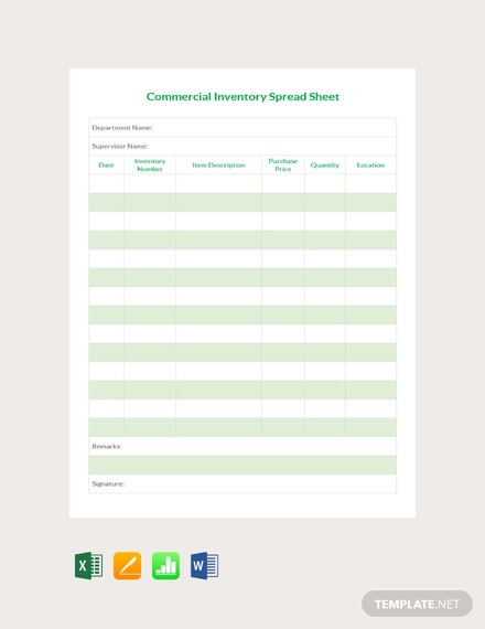 Free Commercial inventory Spreadsheet Template