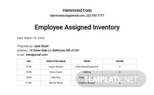 Free Employee Assigned Inventory Spreadsheet Template