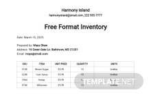 Free Format Inventory Spreadsheet Template