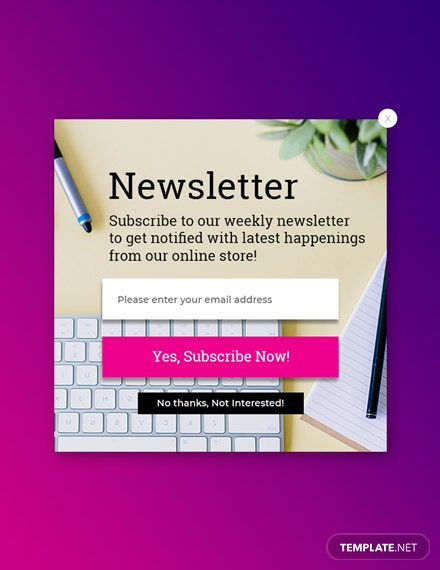 Free Website Subscription Pop-up Template
