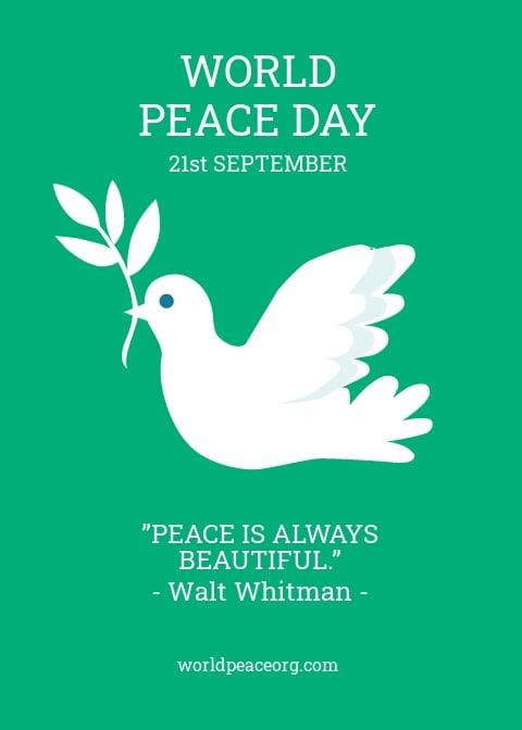 World Peace Day Greeting Card Template [Free JPG] - PSD