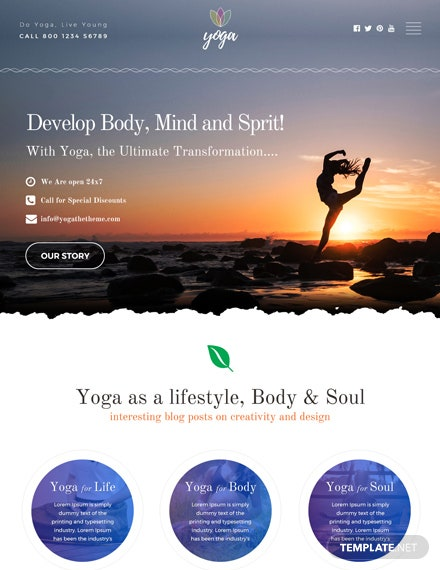 Free Yoga Instructor HTML5/CSS3 Website Template