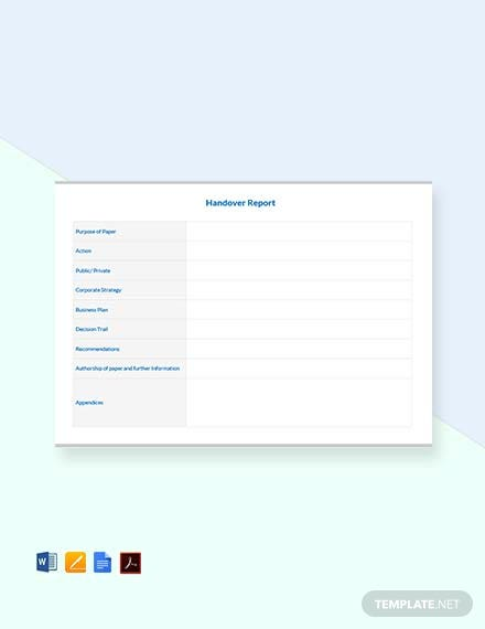 Free Blank Handover Report Template