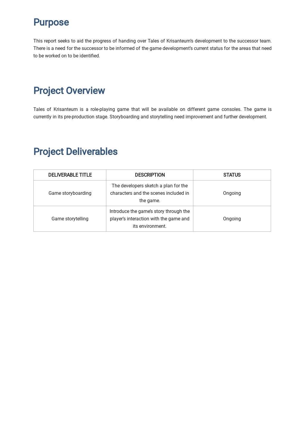 Free Blank Handover Report Template 1.jpe
