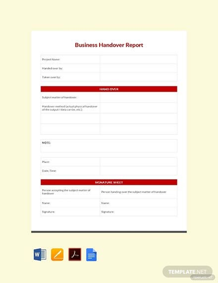 Free Business Handover Report