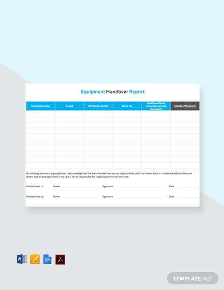 Free Equipment Handover Report Template