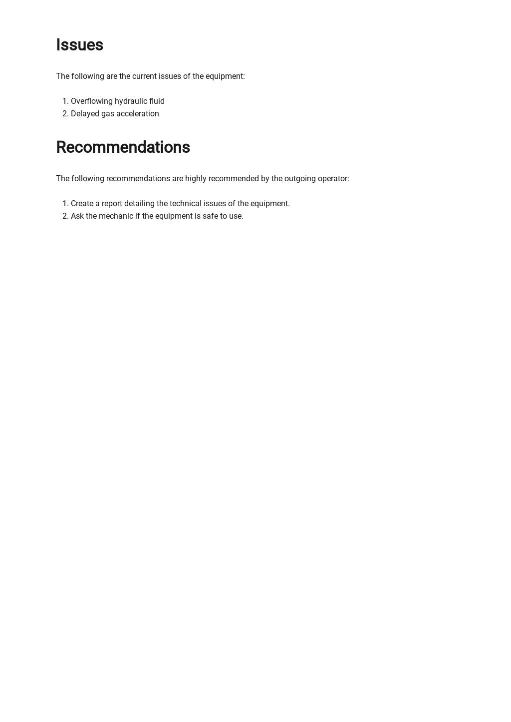 Free Equipment Handover Report Template 2.jpe