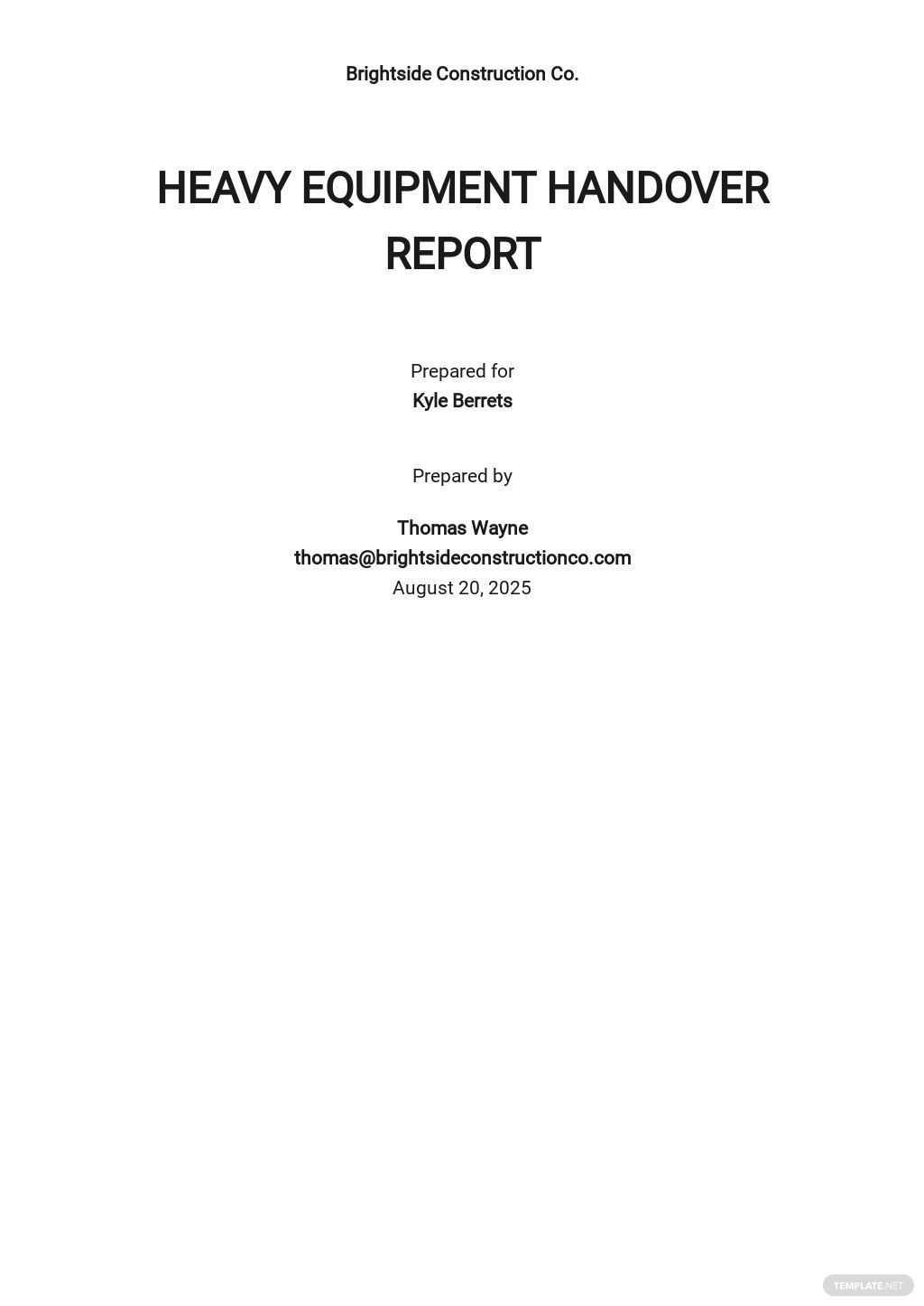 Free Equipment Handover Report Template.jpe