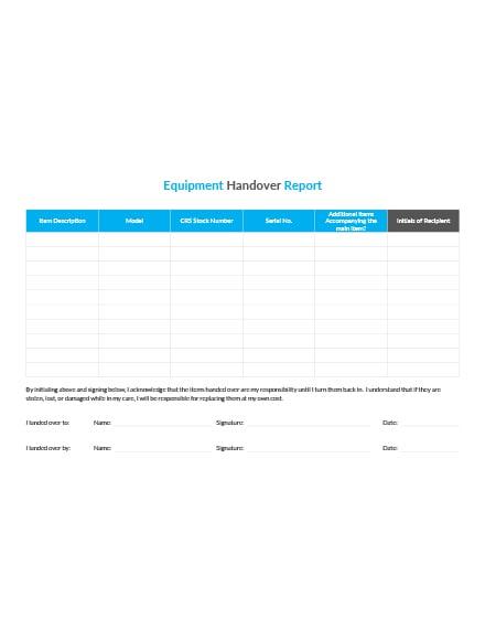 Equipment Handover Report Template