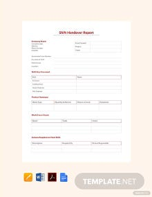Free Shift Handover Report Template