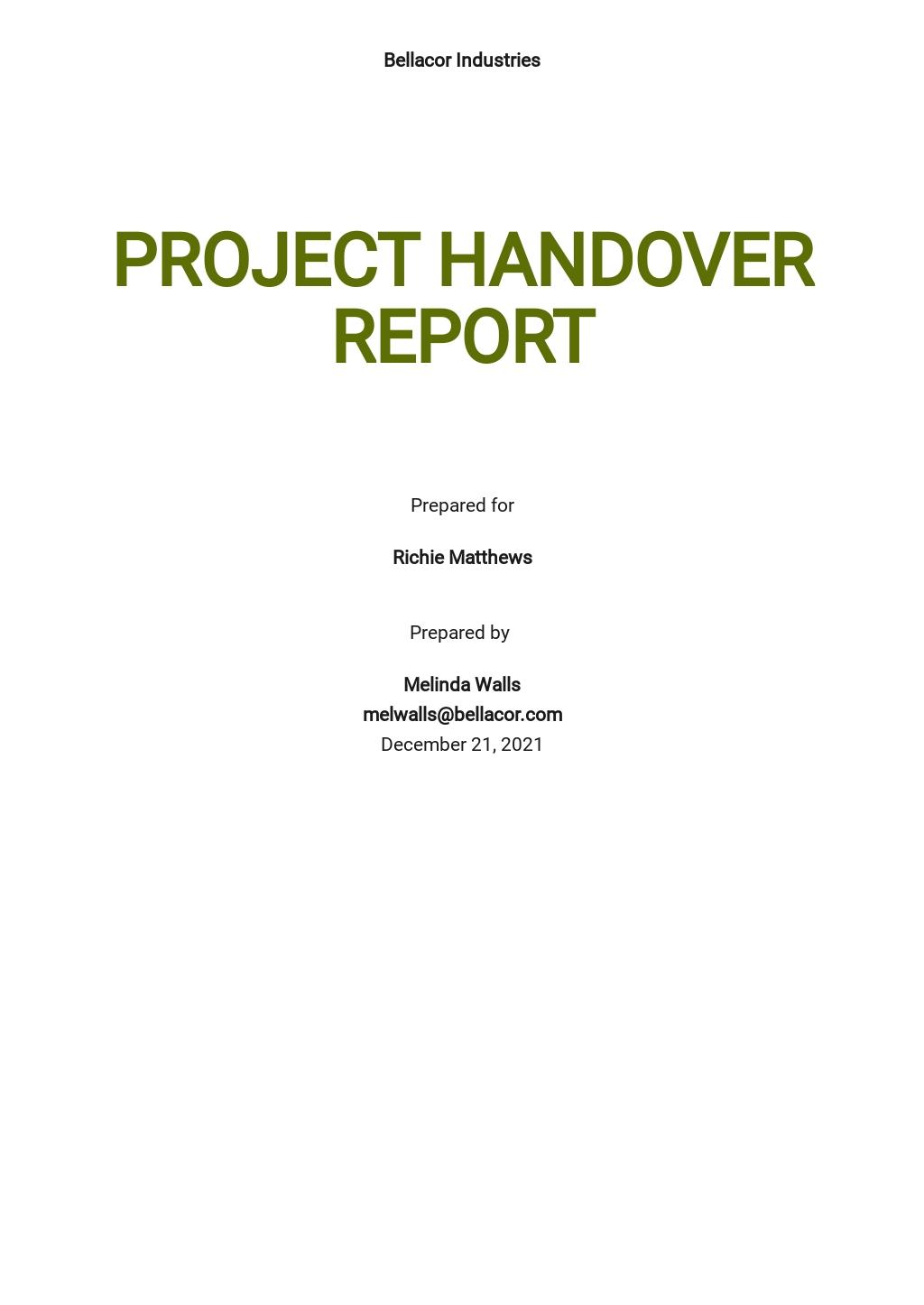 Work Handover Report Template