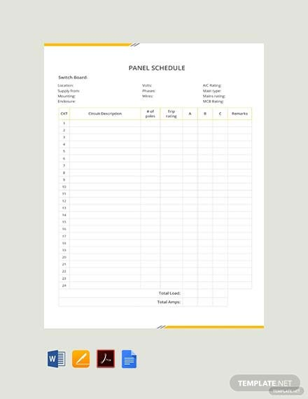 Blank Panel Schedule Template