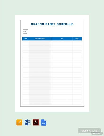 Free Branch Panel Schedule Template