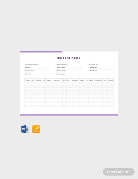 Free Breaker Panel Schedule Template