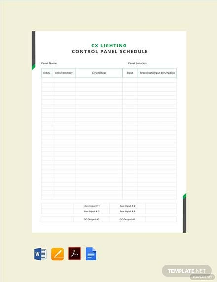 Free CX Lighting Control Panel Schedule Template