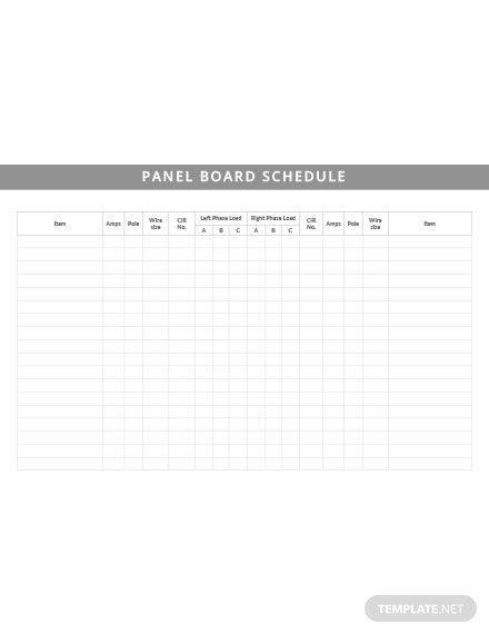 Free Panel Board Schedule Template
