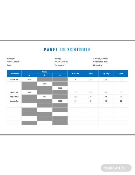 Free Panel ID Schedule Template