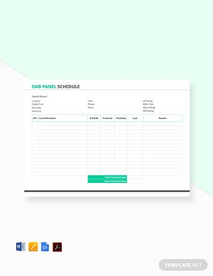 Free SWB Panel Schedule Template