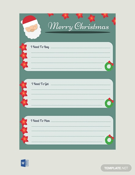 Free Christmas Gift List Template