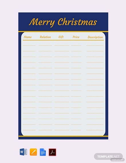Free Merry Christmas Gift List