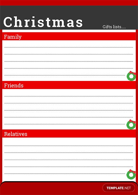 Christmas Wish List for Family
