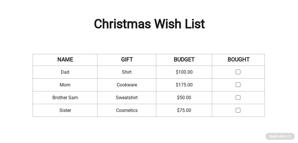 Free Christmas Wish List for Family