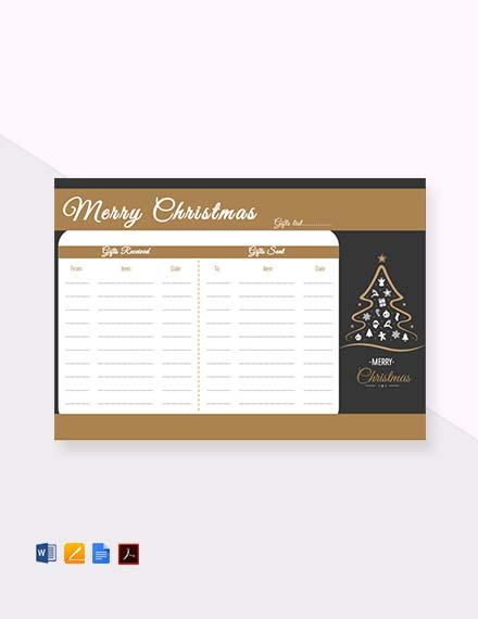 Free Christmas Tree Gift List