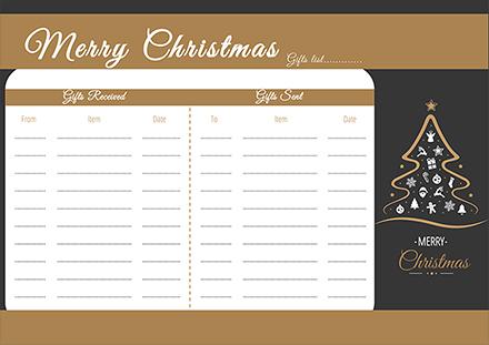 Christmas Tree Gift List