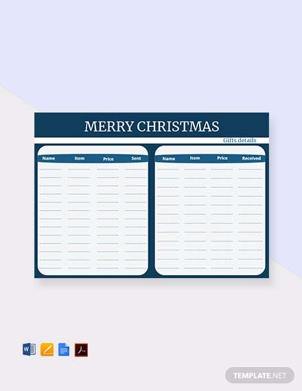 Free Printable Christmas Gift List