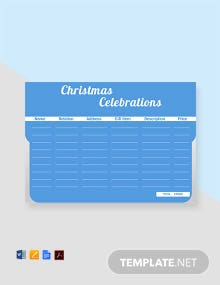 Free Christmas Celebrations Gift List